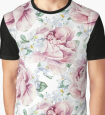 Watercolor Pink Peonies Pattern Graphic T-Shirt
