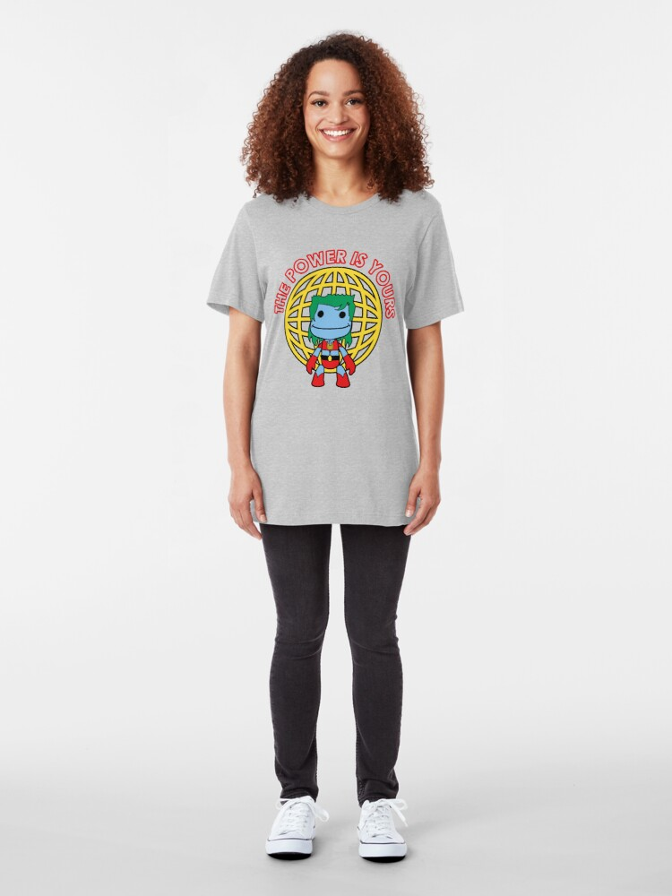 Alternate view of Captain Little Big Planet - Multiple Colors - Red Text Slim Fit T-Shirt