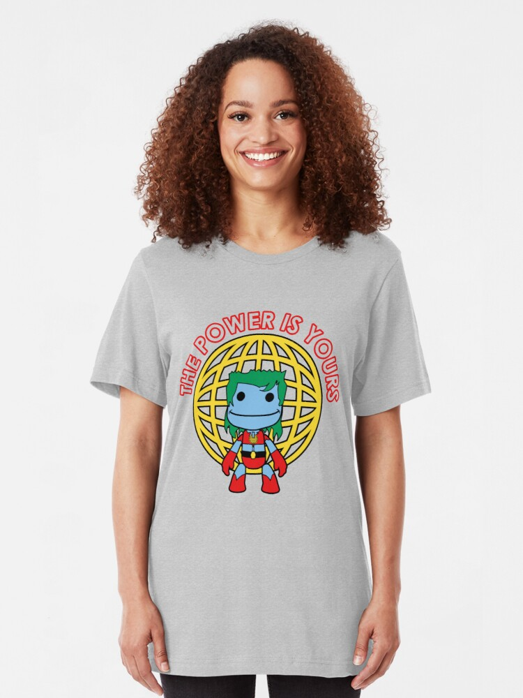 Alternate view of Captain Little Big Planet - Multiple Colors - Red Text Slim Fit T-Shirt