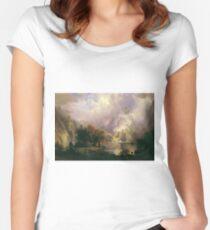 Rocky Mountain Landscape by Albert Bierstadt Women's Fitted Scoop T-Shirt