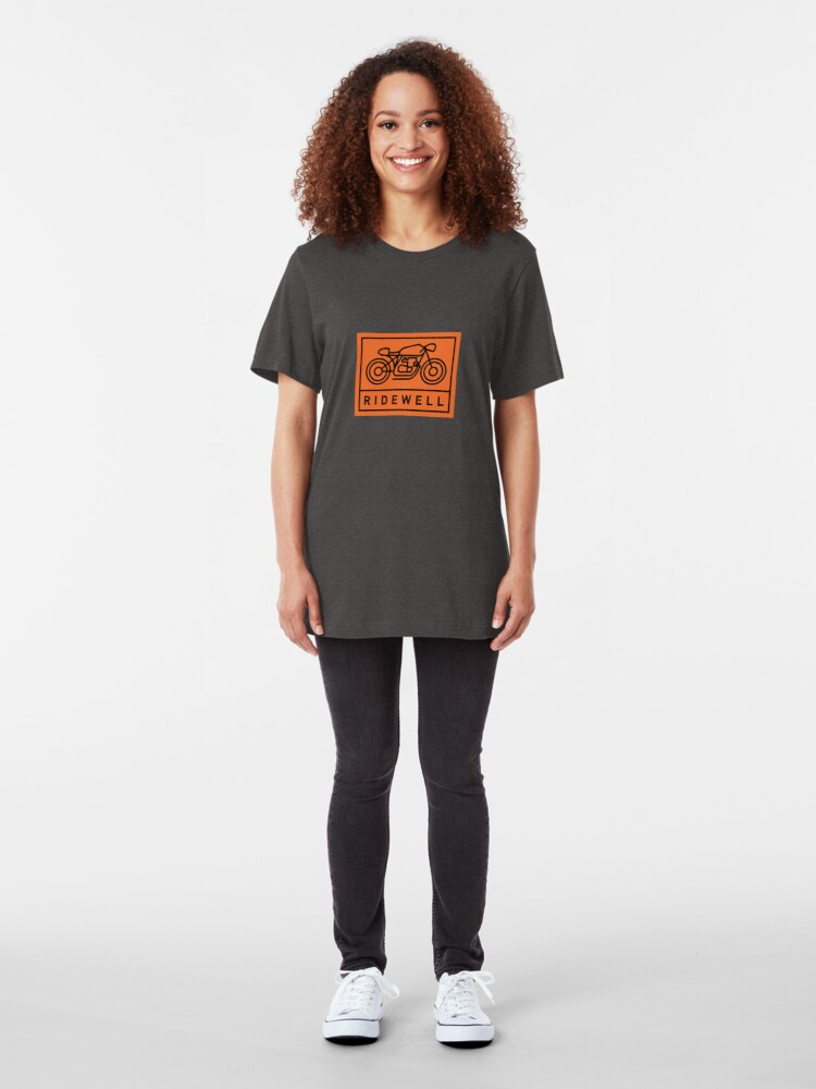 Alternate view of RIDEWELL Logo - Black on Orange Slim Fit T-Shirt