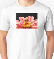 Bee Visits Peach Zinnia T-Shirt
