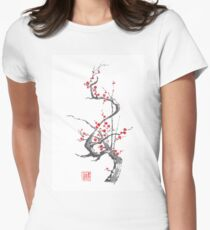 Chinese plum tree blossom sumi-e painting Womens Fitted T-Shirt