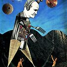 Gotcha - traditional collage, mixed media surreal art by LindaAppleArt