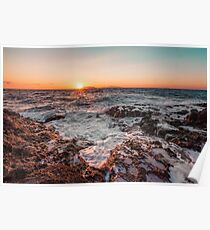 Sunset in a Rocky beach Poster