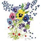 Watercolor Spring Flowers 1986 by DarkRubyMoon