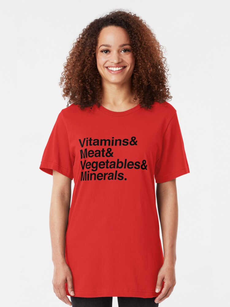 Alternate view of Vitamins& Meat& Vegetables& Minerals. Slim Fit T-Shirt