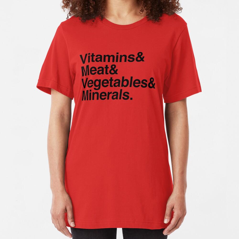 Vitamins& Meat& Vegetables& Minerals. Slim Fit T-Shirt
