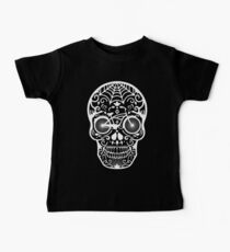 Vintage Mexican Skull with Bicycle - white on black Kids Clothes