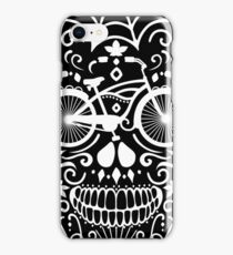 Vintage Mexican Skull with Bicycle - white on black iPhone Case/Skin
