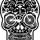 Weinlese-mexikanischer Schädel mit dem Fahrrad - Weiß auf Schwarzem von XOOXOO