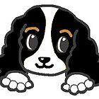 cavalier king charles spaniel black and white peeking by marasdaughter