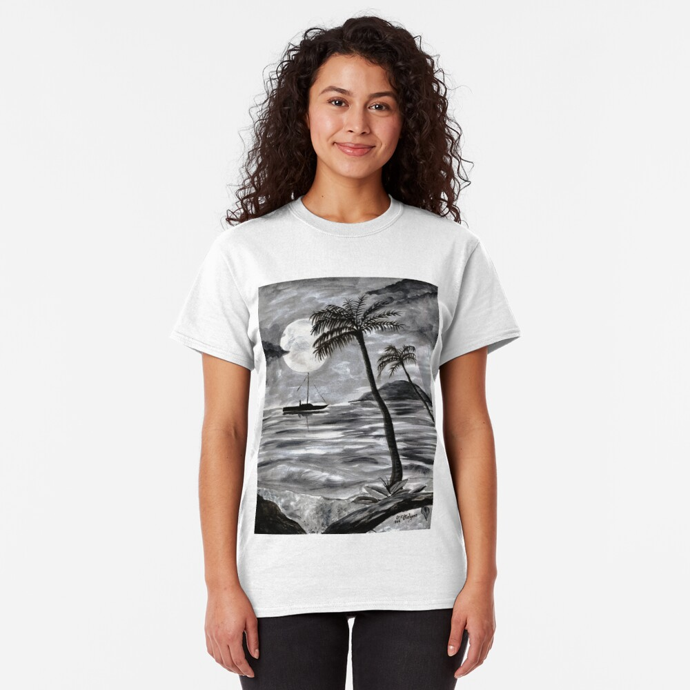 Moon Over Palm Trees Classic T-Shirt