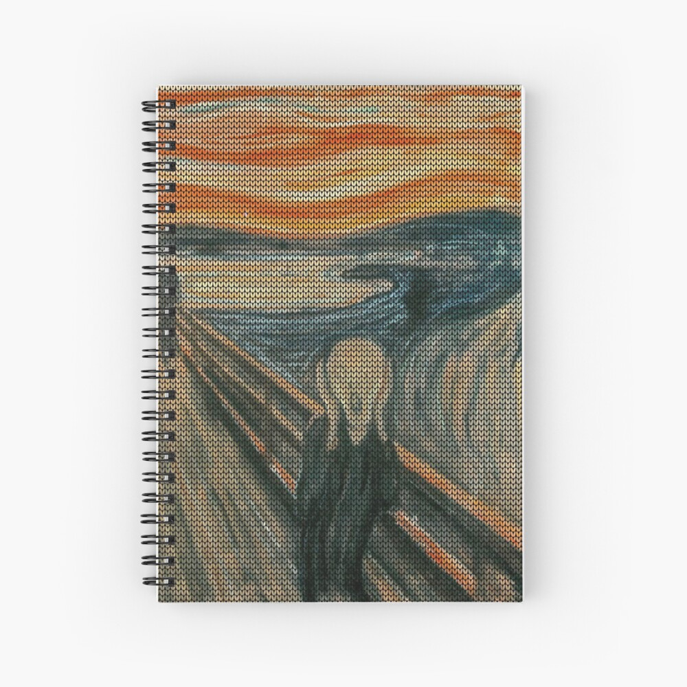 The Scream Lovingly Knitted by Granny E-Munch Spiral Notebook