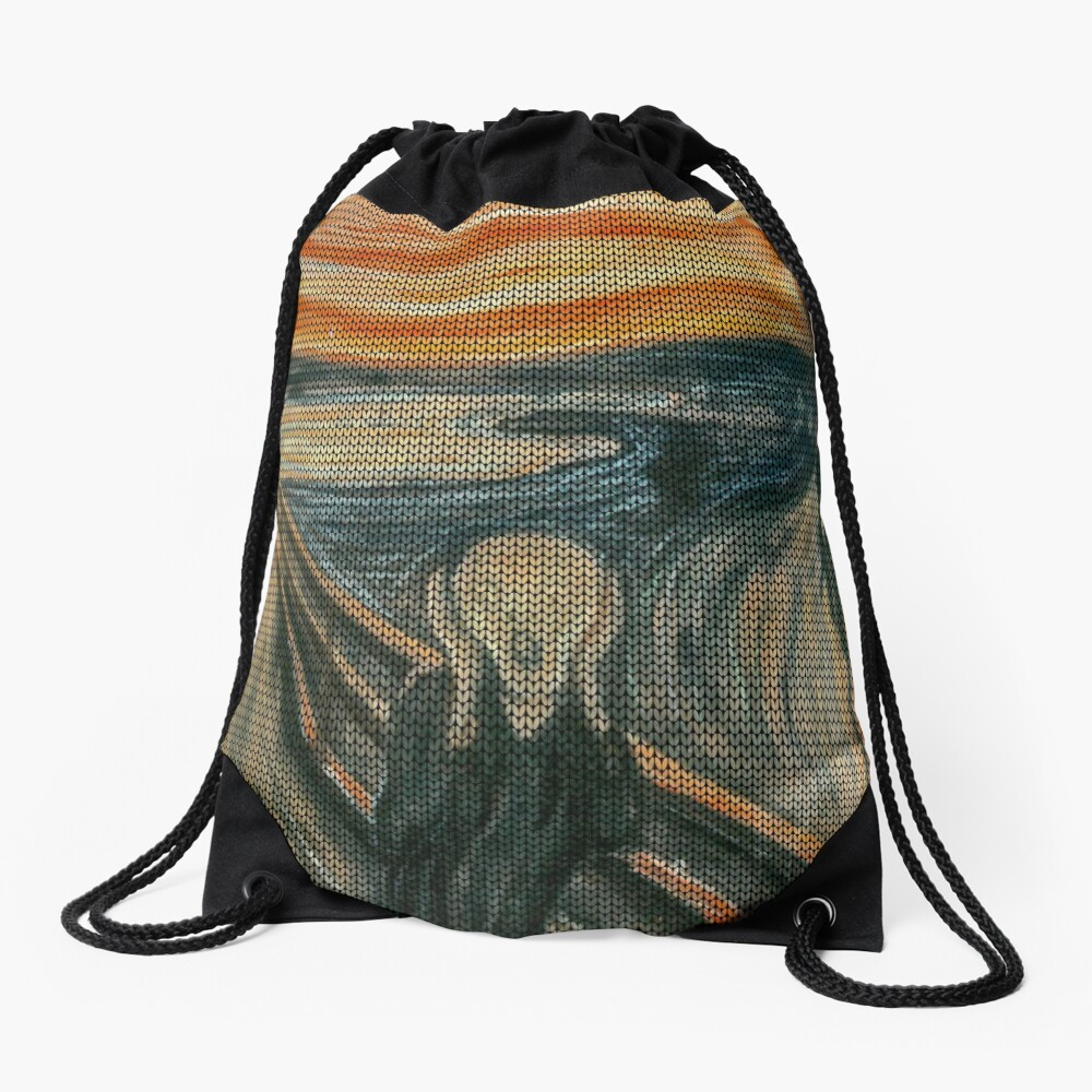 The Scream Lovingly Knitted by Granny E-Munch Drawstring Bag