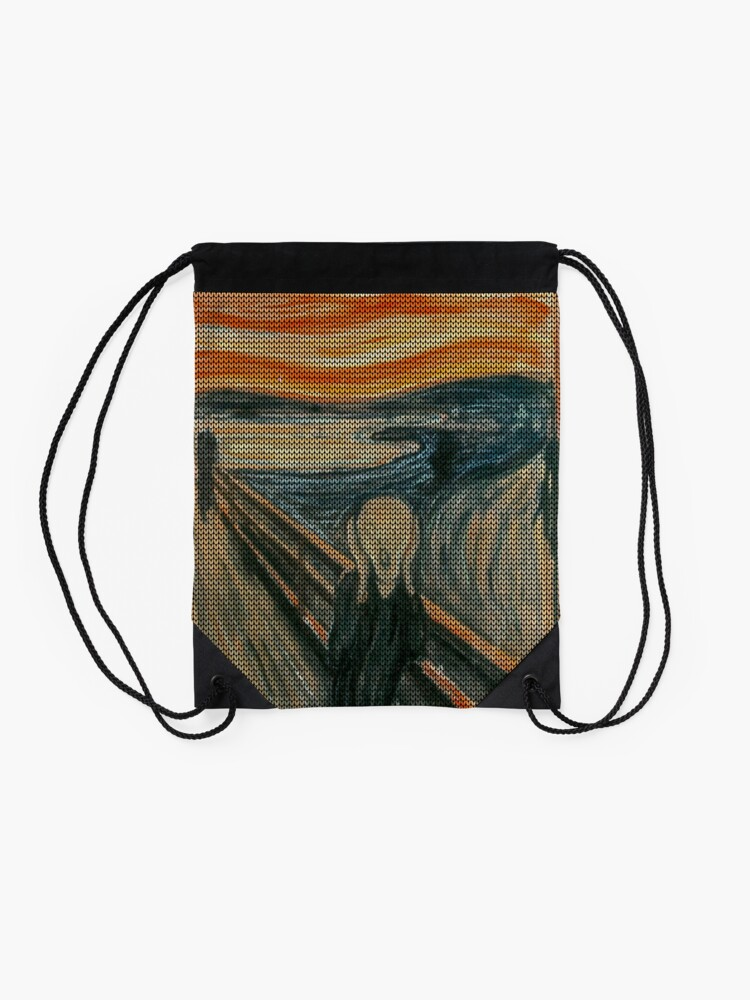Alternate view of The Scream Lovingly Knitted by Granny E-Munch Drawstring Bag