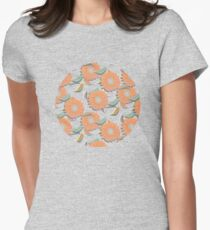 Peach Floral Womens Fitted T-Shirt