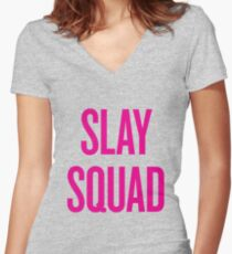 Slay Squad - Wedding Bridesmaid Bachelorette Party Design Women's Fitted V-Neck T-Shirt