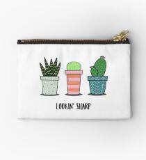 Lookin Sharp cacti trio in pots, cactus, succulent, aloe illustration Studio Pouch