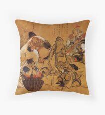 'Seven Gods of Fortune' by Katsushika Hokusai (Reproduction) Throw Pillow