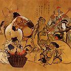 'Sieben Glücksgötter' von Katsushika Hokusai (Reproduktion) von RozAbellera