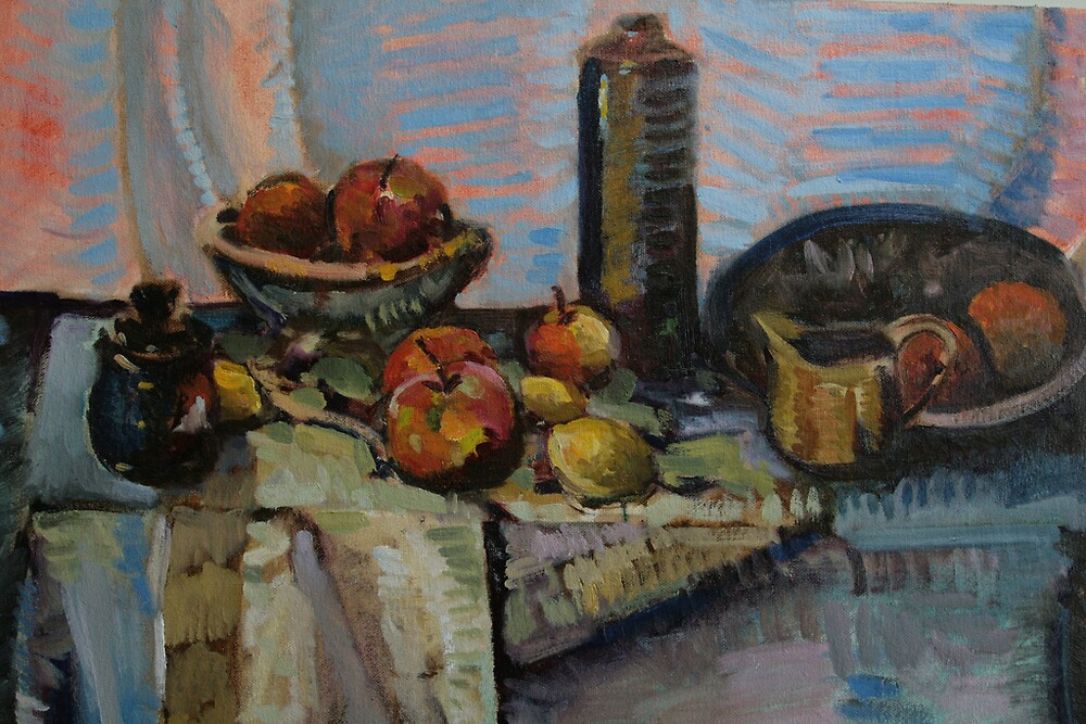 Still Life in Oil, with tablecloth by matthewIaldous