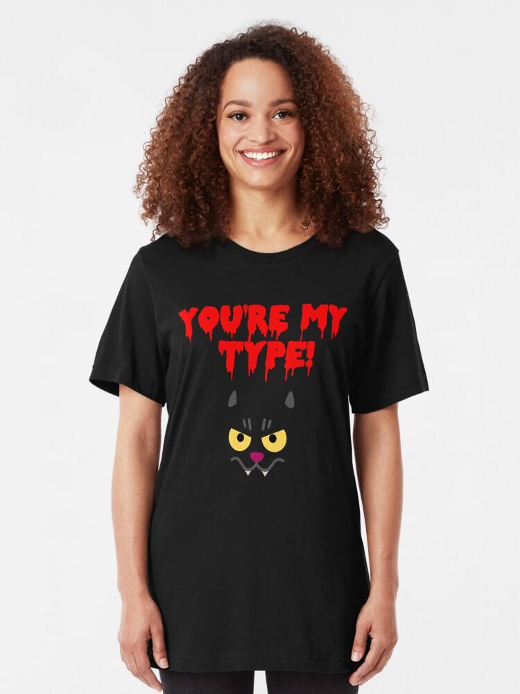 Alternate view of Funny Cat Vampire Design! Slim Fit T-Shirt