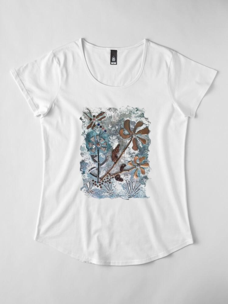 Alternate view of STEAMPUNK FLOWERS Premium Scoop T-Shirt