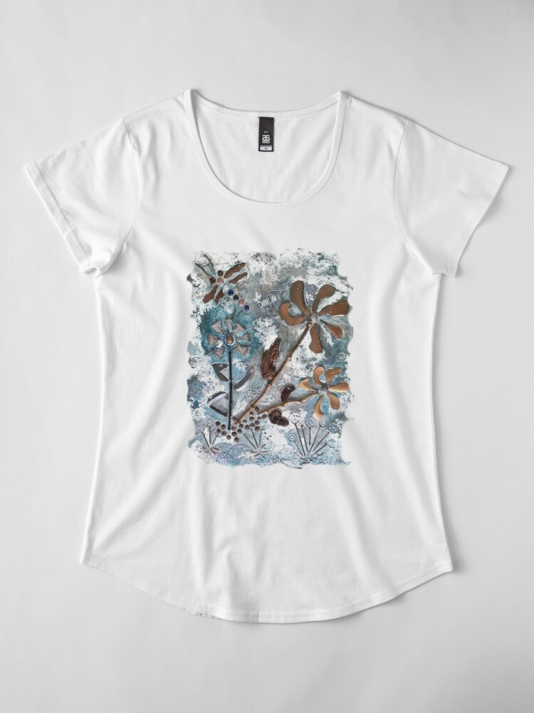 Alternate view of STEAMPUNK FLOWERS Premium Scoop T-Shirt