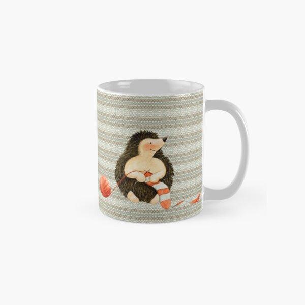 Hedgehog Knitting a Scarf Classic Mug