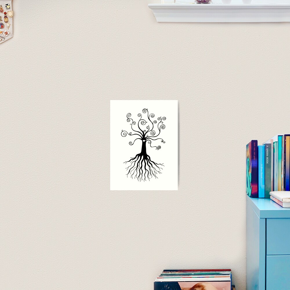 Tree of Life - black and white by Cecca Designs Art Print