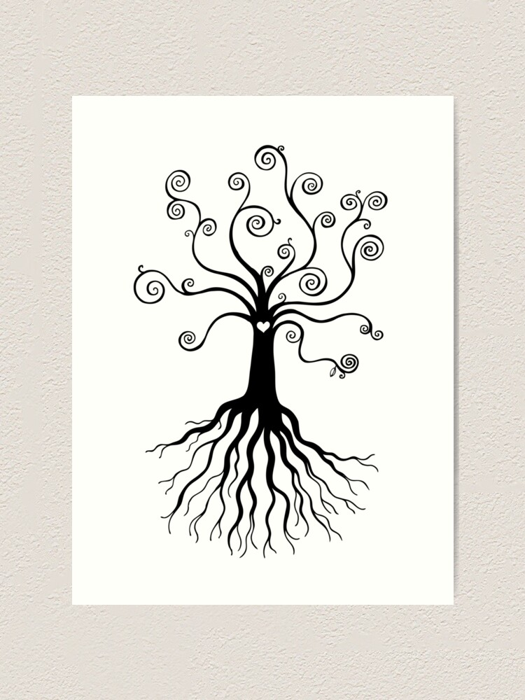Alternate view of Tree of Life - black and white by Cecca Designs Art Print
