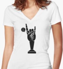 All Black Rock 'n Roll Barista Women's Fitted V-Neck T-Shirt