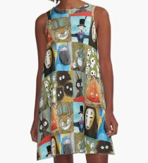 Studio Ghibli Collage - Calcifer, Jiji, Turnip, No Face, Markl, Kodama, Cat Bus & Soot Sprites A-Line Dress