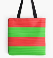 Brush Stroke Stripes: Red and Green Tote Bag