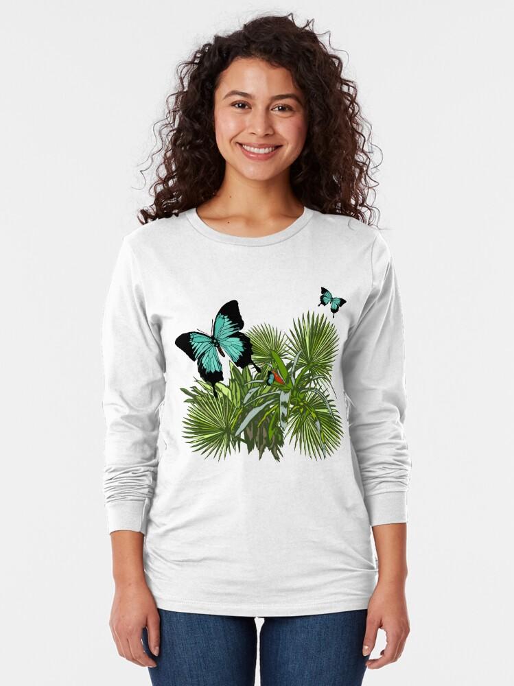 Alternate view of Rainforest Retreat: Ulysses butterfly Long Sleeve T-Shirt