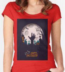 Halloween Papercut Design Women's Fitted Scoop T-Shirt