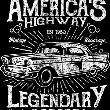 AMERICAS HIGHWAY - Legendary vintage car shirt design by superiors-shop