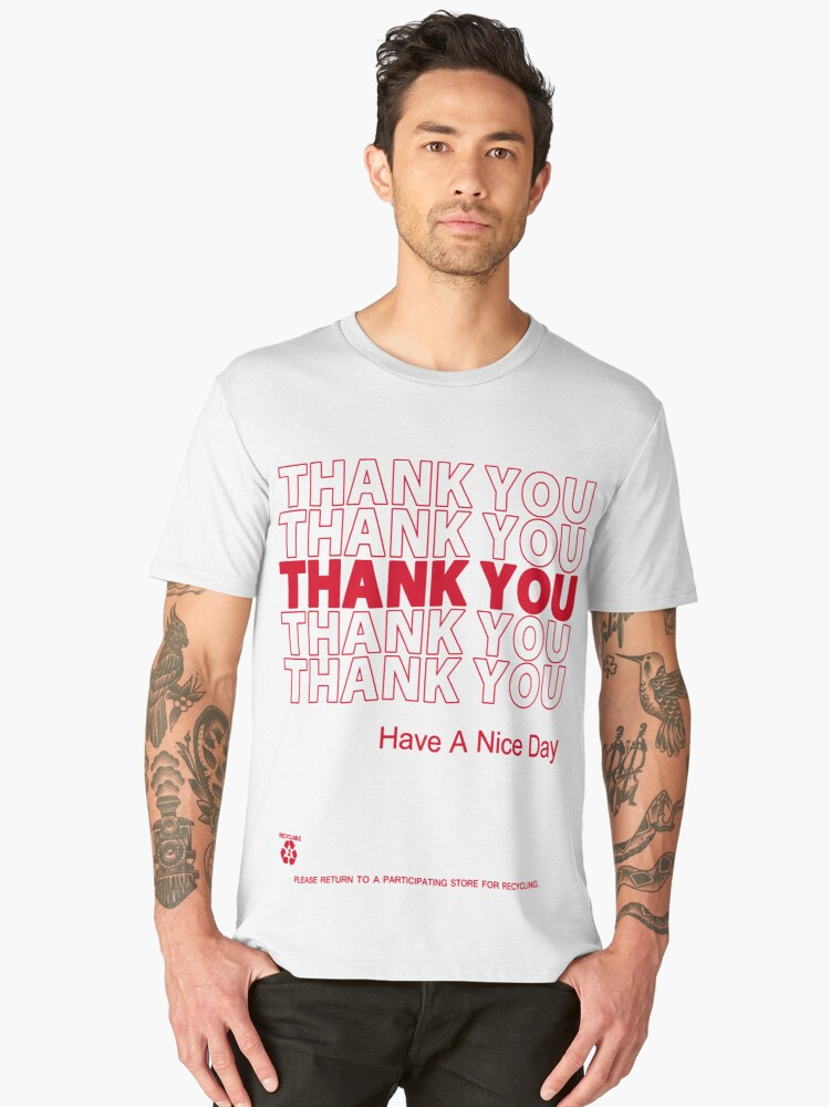 plastic bag shirt - thank you Men's Premium T-Shirt Front