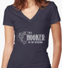 Hooker on the Weekend Women's Fitted V-Neck T-Shirt