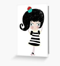 Lovely love Print Illustration Doll surprise Black and white dress black shoes and hair strawberry muffin flavored illustration  Greeting Card