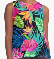 Drive You Mad Hibiscus Pattern Contrast Tank