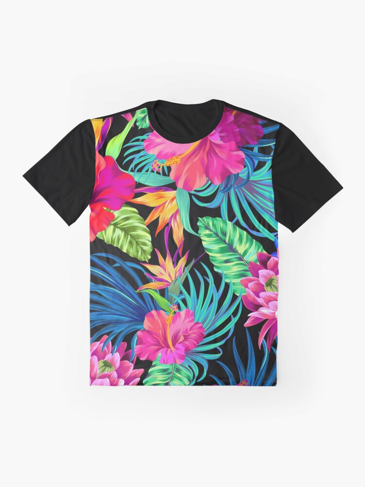 Alternate view of Drive You Mad Hibiscus Pattern Graphic T-Shirt