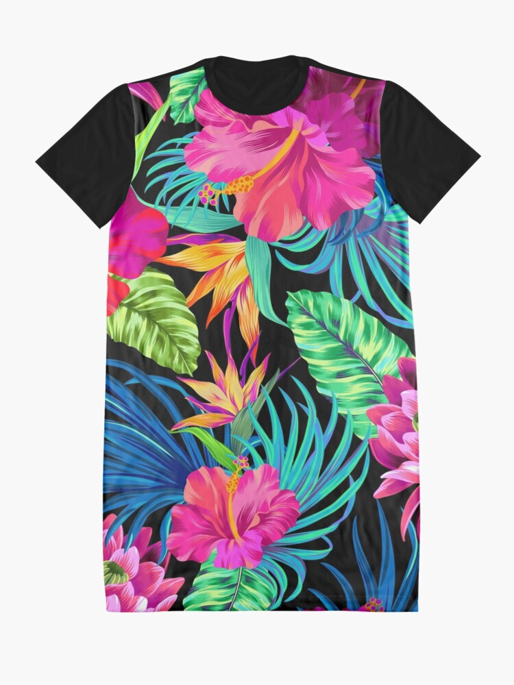 Alternate view of Drive You Mad Hibiscus Pattern Graphic T-Shirt Dress