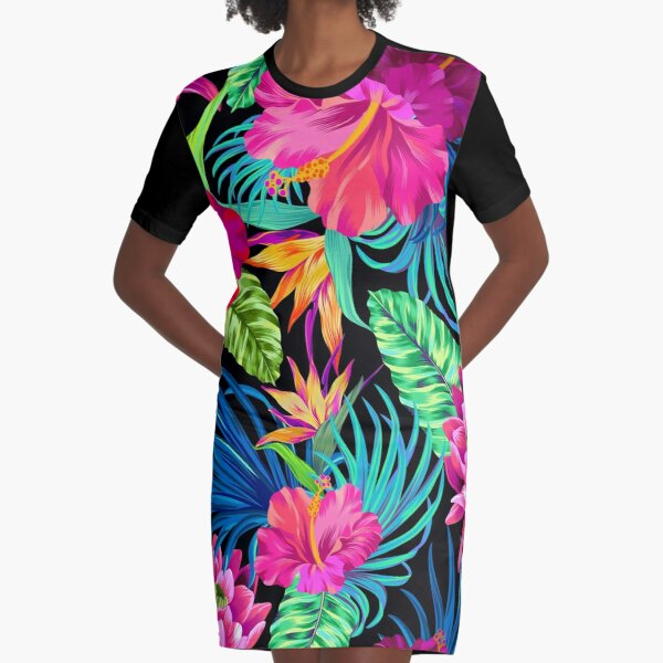 Drive You Mad Hibiscus Pattern Graphic T-Shirt Dress