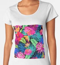 Drive You Mad Hibiscus Pattern Women's Premium T-Shirt