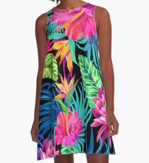 Vestido acampanado Drive You Mad Hibiscus Pattern
