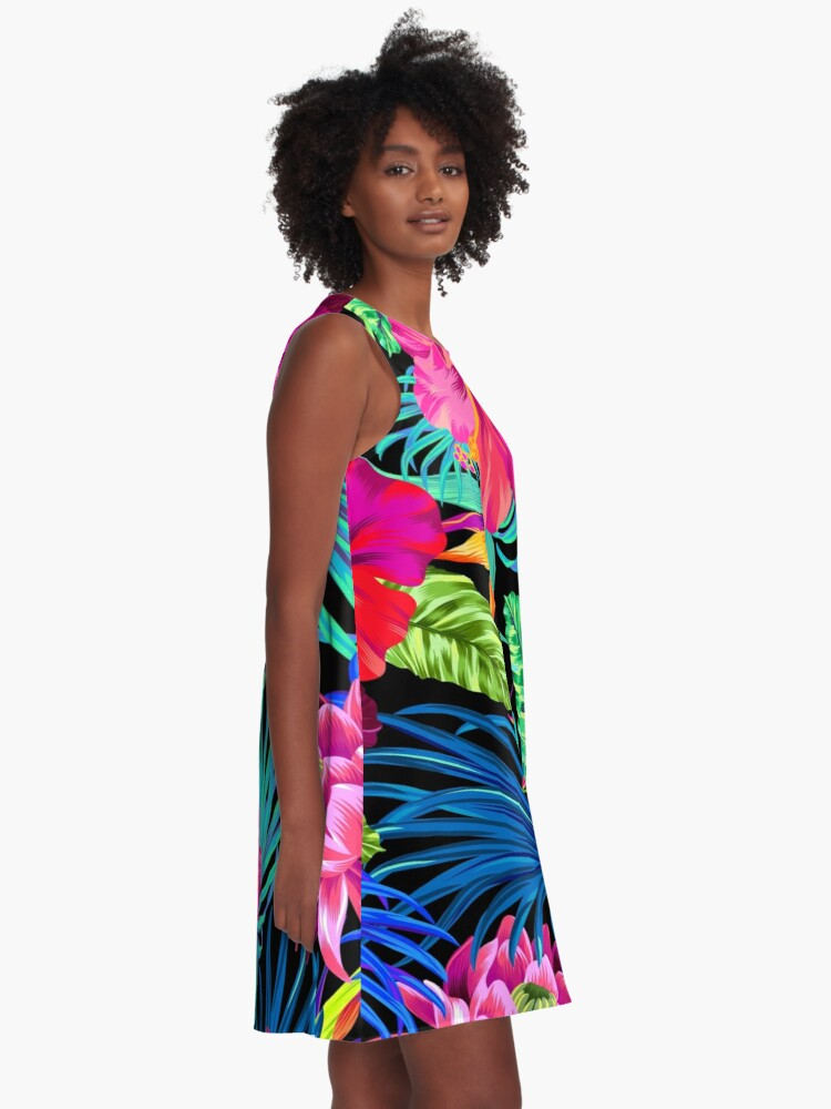 Alternate view of Drive You Mad Hibiscus Pattern A-Line Dress