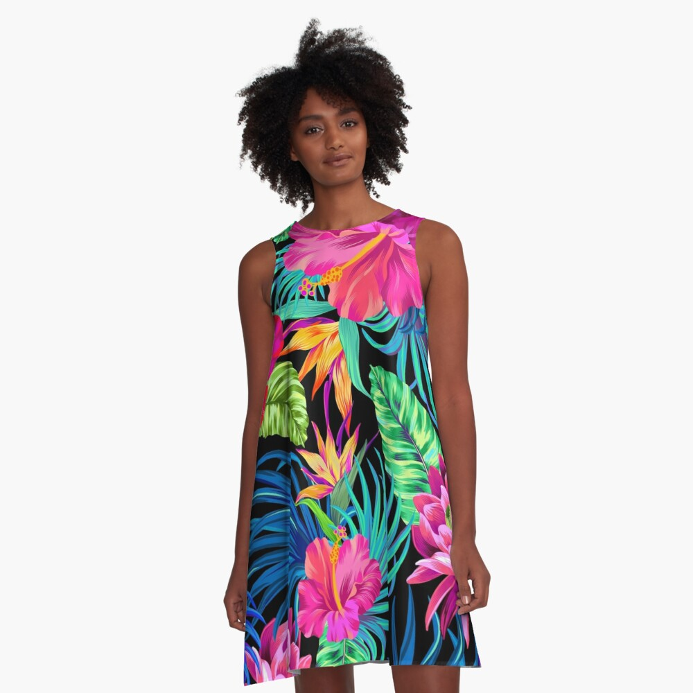 Drive You Mad Hibiscus Pattern A-Line Dress