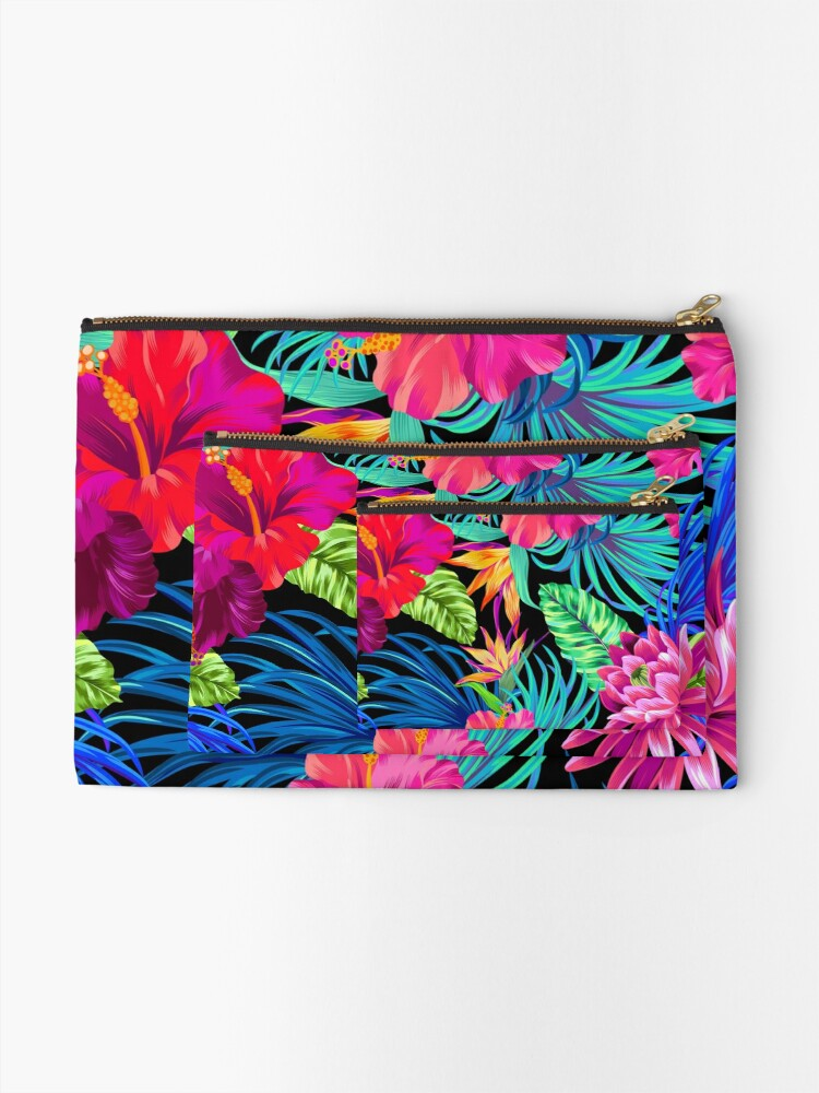 Alternate view of Drive You Mad Hibiscus Pattern Zipper Pouch